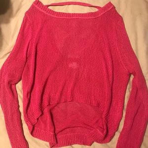 Pink knit sweater scoop back